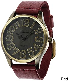 Geneva Platinum Women's Faux Leather Vintage-Style Watch-Red