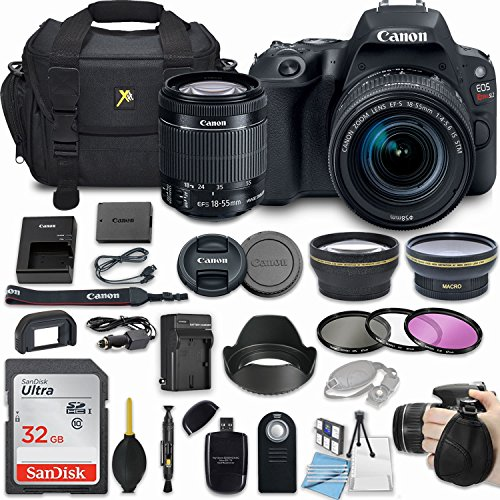 Canon EOS Rebel SL2 24.2MP DSLR Camera with EF-S 18-55mm f/4-5.6 is STM Lens + 32GB Memory + Camera Bag + 3 Pc Filter Kit + 2.2X Telephoto + 0.43x Macro Close Up Lens + More