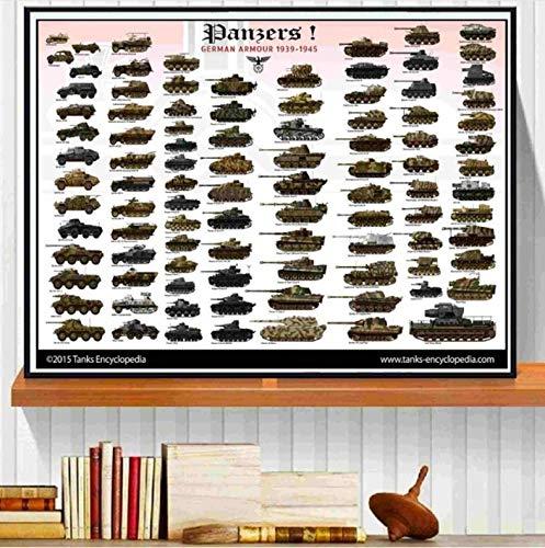 World WW2 Tanks Armor Quote Canvas Art Print Painting Wall Poster Pictures for Bedroom Decoración del hogar Decoración de la Pared Sin Marco 50x70cm -HZgg831