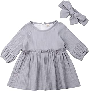 Toddler Baby Girl Long Sleeve Dresses 2T 3T 4T Newborn Infant Cotton Linen Casual Playwear Outfits Clothes