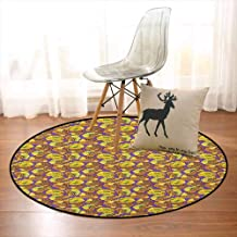Botanical Children's Bedroom Carpet Hand Drawn Flowers on Purple Backdrop Abstract Field of Poppies Summer Season Soft Fluffy D59 Inch Multicolor