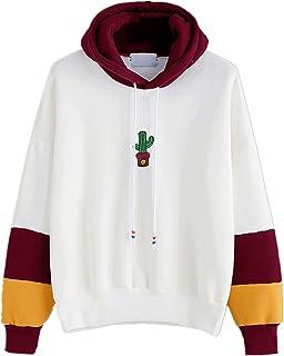 35776a8b460f42 Kword Felpa in Cotone, Donna Manica Lunga Stampa Cactus Felpa con Cappuccio  Felpa Pullover Top