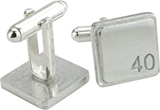 Square Cufflinks with '40' Engraved - 40th Anniversary