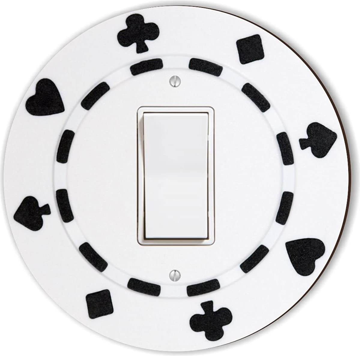 Rikki Knight RND-LSPROCK-84 Poker Chip Round Single Rocker Light Switch Plate, White/Black