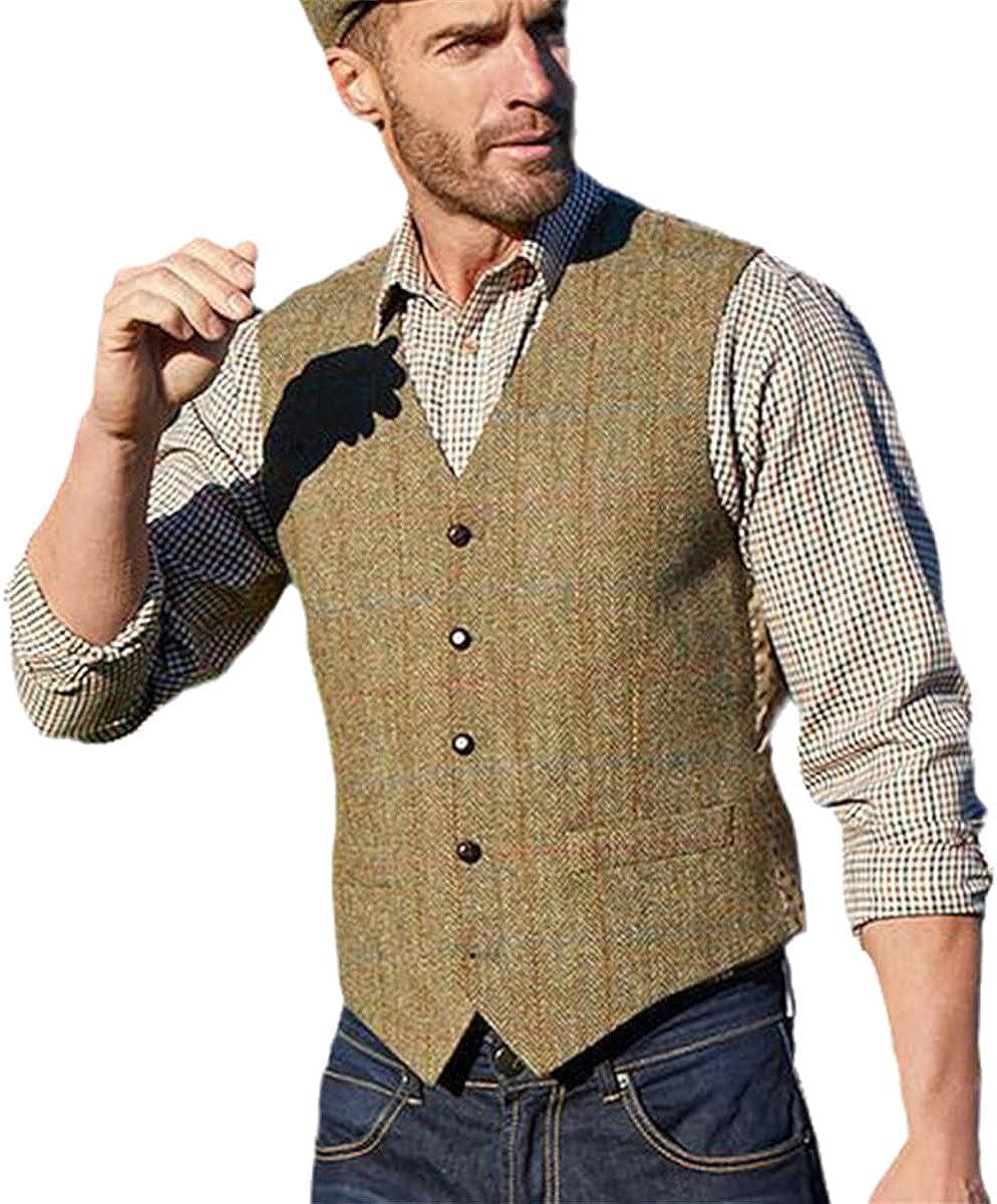 Men's suit vest khaki clothing wedding tweed business vest jacket casual slim waistcoat
