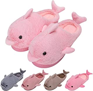 House Slippers Cute Funny Dolphin Plush Womens Kids Soft Indoor Floor Shoes