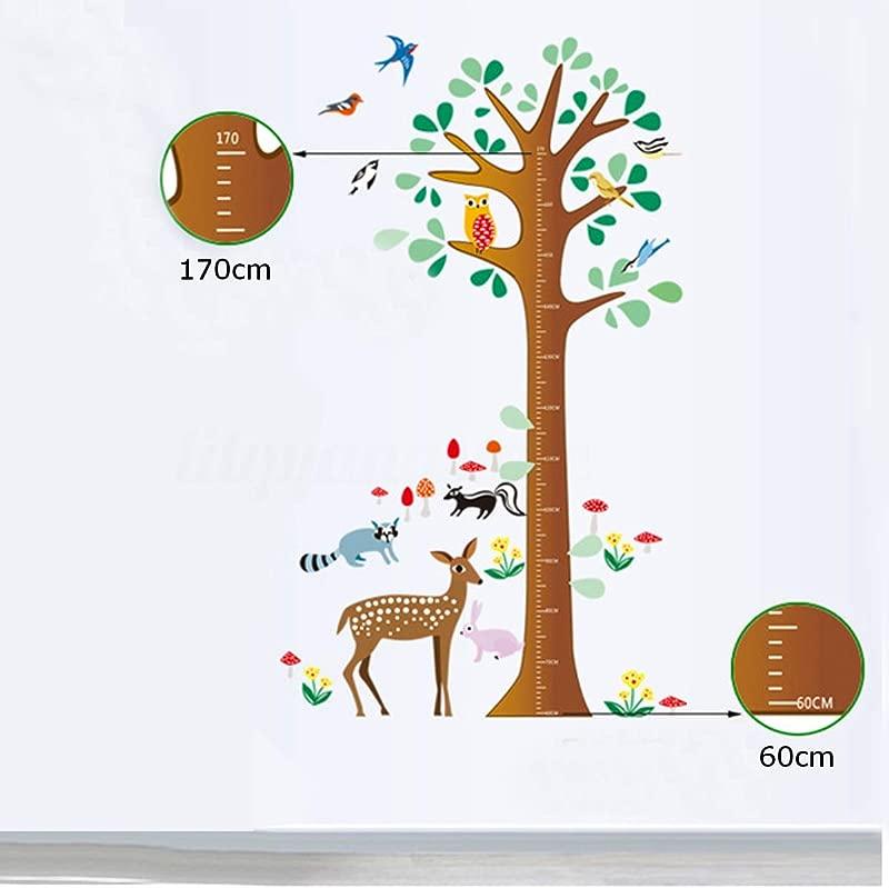 FidgetKute Kids Height Chart Giraffe Rocket Wall Sticker Nursery Growth Measure Ruler Decal Tree Stickers