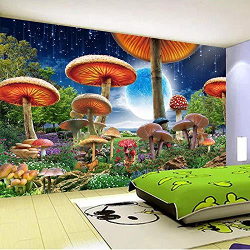 XXUEJ Wallpaper Wandgemälde Karikatur Handgemalte Grüne Pflanzenfarbe Blume Pilz Mond 3D Poster Foto Wandaufkleber Selbstklebend Umweltschutz Pvc Wand Kunst Wallpaper Foto Jungen Mäd(B 300 x H 210 cm)