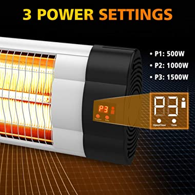 PATIOBOSS Electric Patio Heater, Wall-Mounted Outdoor Heater W/ LCD Display, Infrared Heater for Garage Backyard, 1500W Adjus