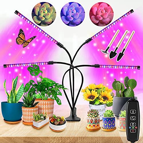 Pflanzenlampe LED Vollspektrum für Zimmerpflanzen,4 Heads 80LEDs Pflanzenlicht Anzucht UV Lampe Pflanzen Anzuchtlampe Pflanzenleuchte Blumenlampe Wachstumslampe für Tageslicht Tomaten Gewächshaus