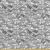 ABAKUHAUS Stadt Stoff als Meterware, Stadthäuser Muster