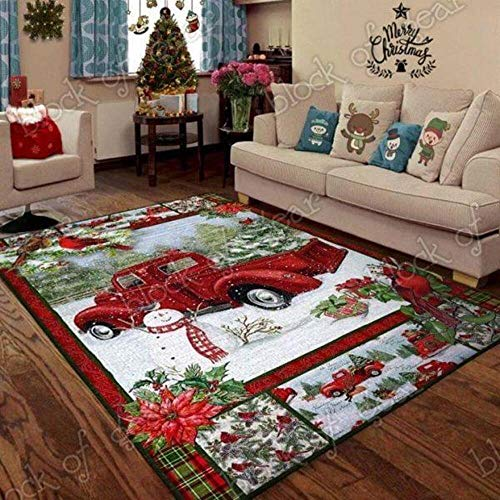 Christmas red Truck Snowy Cardinals Home Decor Area Rug