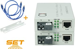Single Mode SC WDM Single Fiber Bi-Di Gigabit Media Converter - Built-in Fiber Module 20km (12.42 Miles) – to UTP Cat5e Cat6 10 100 1000 RJ-45 – Auto Sensing Gigabit or Fast Ethernet Speed -1 Pair