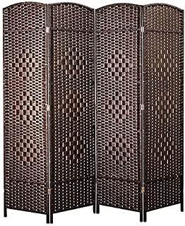 ZOUJIN Room Divider Partition Screen For Room (Color : Dark Brown 5 Panel, Size : With base)