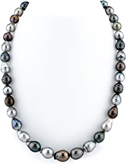 THE PEARL SOURCE 14K Gold 8-10mm Baroque Genuine Multicolor Tahitian South Sea Cultured Pearl Necklace in 16