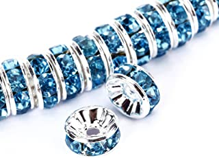 BRCbeads 8mm Silver Plated Crystal Rondelle Spacer Beads 100pcs per bag for jewelery making(#202 Aquamarine)