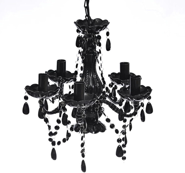 Zora Walter Kronleuchter mit schwarzen Kristallen 5 Lampen Kronleuchter