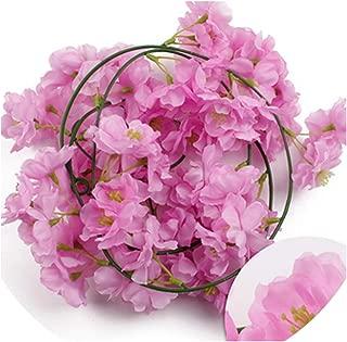 2M Sakura Cherry Rattan Wedding Arch Decoration Artificial Vine Flowers Silk Ivy Room Decoration Hanging Garland,Light Purple Cherry