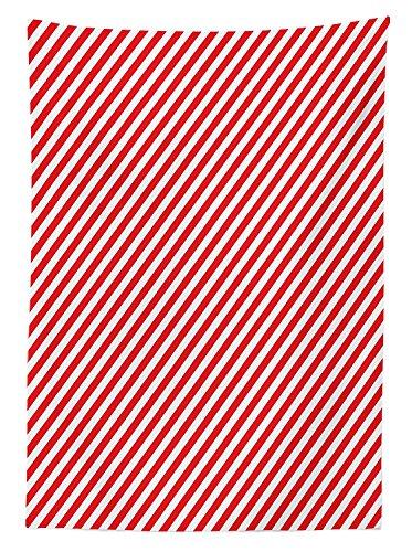 Yeuss Candy Cane Mantel, Lineas diagonales Rojas Celebracion navidena tematica Arreglo geometrico, Comedor Cocina Cubierta de Mesa Rectangular, Blanco Rojo, 60x120 Pulgadas