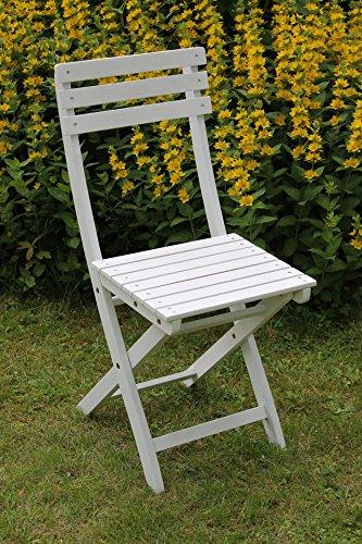 SEDEX Bistro 2er Set Klappstuhl für Garten, Terrasse und Balkon FSC® 100% Eukalyptusholz - weiß gewischt