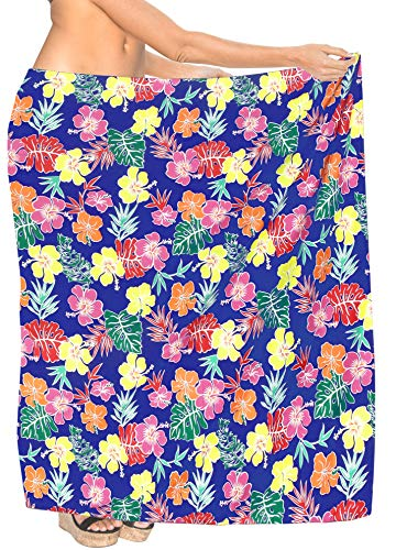 Funky Hawaii-Sarong Pareo COVER-Up Taglia Unica Blanc BIG MULTI