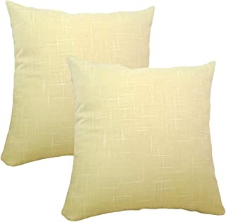 Aimeer Pack of 2 Cozy Throw Pillow Covers Cases for Couch Bed Sofa Ultra Soft Solid Stripe Texture Cushion Covers Both Sides for Home Decoration 18 X 18 Inches (Pale Yellow,18 X 18 Inches - 2PCs)