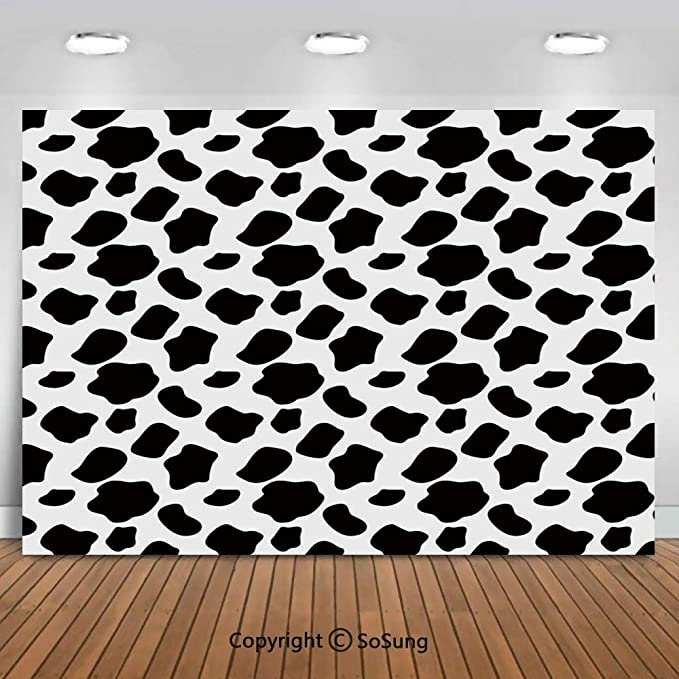Animal Cow Hide Pattern Doodle Cartoon Children Drawing Farming Husbandry Background for Child Baby Shower Photo Vinyl Studio Prop Photobooth Photoshoot Cow Print 8x10 FT Photography Backdrop