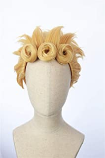 Cosplaywigscom: Giorno Giovanna Wig Inspired by Japanese Anime jojo's bizarre adventure Short Blonde Spiky Prestyled Hair for Adults and Teens