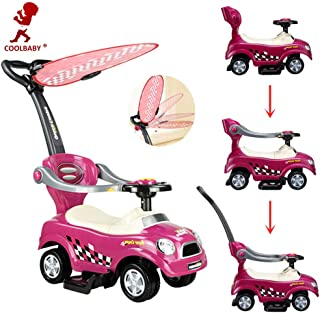 COOLBABY 3 in 1 Baby Walker Activity Ride-On Toys Mini Push Car with Covered Stroller Toddler Buggy Twisting Car for Unise...