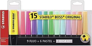 Marca Texto, Stabilo, Boss, 58.0900, Deskset, Pacote de 15, Multicor Fluo/Pastel