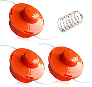 QAQGEAR 3PCS FS1 Trimmer Head with Spring, Brush Cutter Garden Tool Accessories Replacement Spool for Petrol brushcutter - Orange