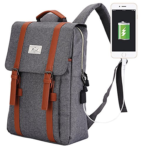 R207 15.6inch Computer Bag Casual Unisex Waterproof Oxford School Backpack Women/ Men School Backpack Rucksack (GRAY)