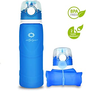 silbyloyoe Silicone Water Bottle Foldable Collapsible Anti Leakage with Leak Proof Valve Bottles Travel Outdoor Sports Lightwight Portable BPA Free Medical Food Grade 26 Ounce