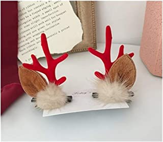 QQRS- Lovely The Same Paragraph Antlers Headband Christmas Headdress Cute Deer Hairpin Deer Headband Four Colors Optional (Color : Red, Style : D)