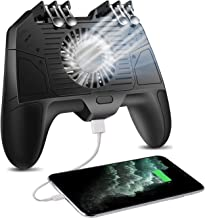 4 Trigger Mobile Game Controller with 3000mAh Power Bank and Cooling Fan for PUBG/Fotnite/Call of Duty Mobile Gaming Trigger Grip Gamepad Joystick for 4.7-6.5