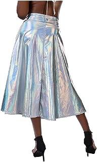 Coolhi Mujeres Brillante Metalizada holográfica líquido Moda A-Line Skater Falda