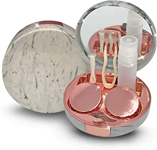 Contact Lens Box-Portable Pocket Size Soaking Contact Lens Container with Mirror for Carrying On Travel Contact Lens Case Kit (Marble Rose Gold)