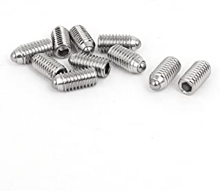 uxcell M6x12mm 304 Stainless Steel Spring Hex Socket Ball Point Grub Set Screws 10pcs