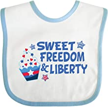 Inktastic Sweet Freedom and Liberty with Red, White, and Baby Bib White/Blue