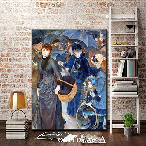 Figuras de la Corte Pastoral Paraguas Mujeres Lienzo de Paisaje impresión Pinturas al óleo Impreso en Lienzo hogar Cortado imágenes decorativas-60x80cm