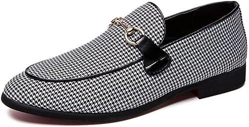 JIALUN-sandalias Sandalias cómodas para los hombres Hauszapatos de Moda Hauszapatos sin Cordones Estilo OX Anticolisión de Cuero Doble propósito Colors Puros