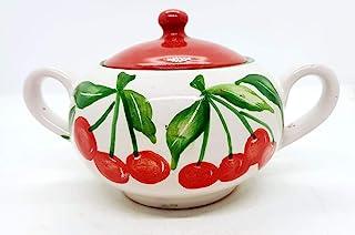Zuccheriera Linea Ciliegie Realizzata e Dipinta a mano Le Ceramiche del Castello Made in Italy