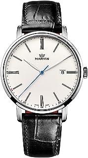 スイス製 Marvin Origin シリーズ 石英ムーブメント ステンレスケース ホワイト文字盤 黒色ワニ紋革の時計バンド ファッション腕時計