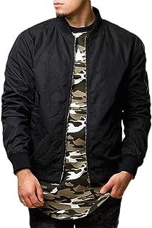 Men Original Fit Solid Baseball Zip Bomber Parka Jackets Punk Rock Coats