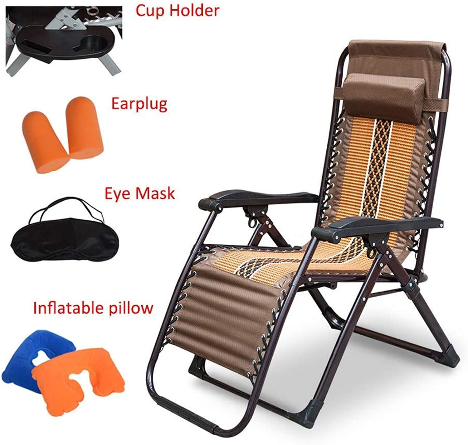 Rocking Lounger Folding Recliner Summer Lounge Chair Padded with Cool Mat and Cup Holder, Office Relaxer Nap Chair Sun Lounger Chair Ideal for Garden Patio Balcony