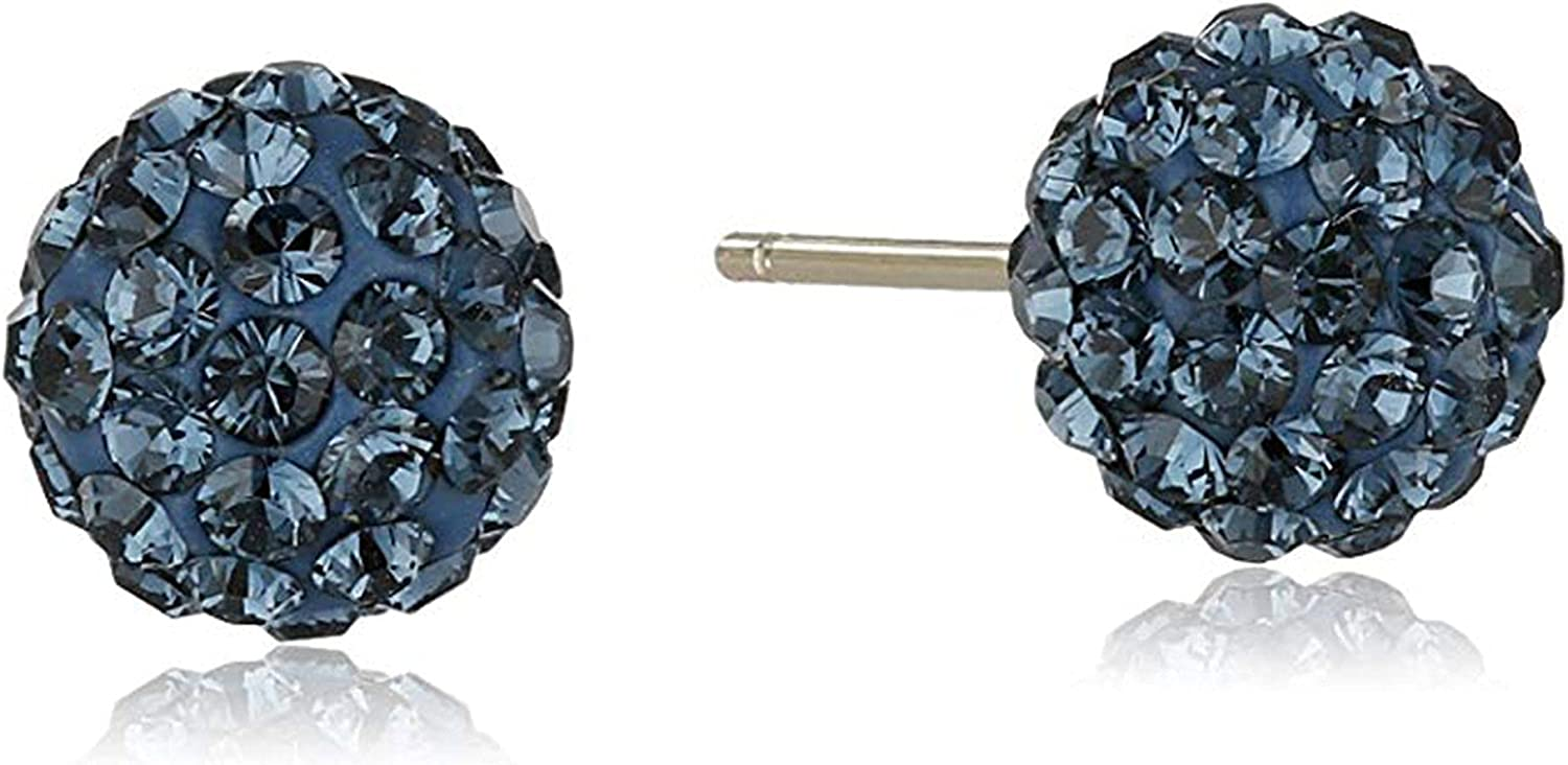Crystaluxe Ball Stud Earrings with Navy Crystals in 14K Gold