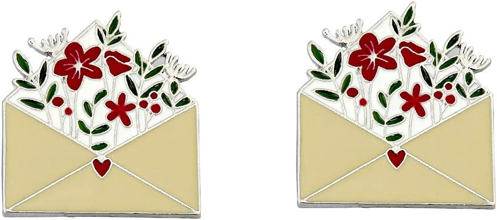 BinaryABC Valentines Day Brooch,Flower Envelope Enamel Lapel Pin,Valentine's Day Party Favors,2Pcs