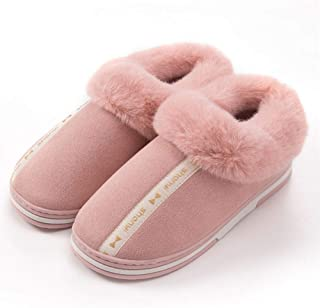 Winter Home Bag with Thick Bottom Warm Cotton Slippers-Comfortable Indoor Non-Slip TPR Breathable, Couple Men's Home,Red,38