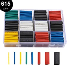 innhom 615pcs Heat Shrink Tubing Heat Shrink Tube Wire Shrink Wrap UL Approved Ratio 2:1 Electrical Cable Wire Kit Set Long Lasting Insulation Protection, Safe and Easy, Eco-Friendly Material