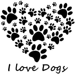 vbgdf Wall Stickers I Love Dog Paw Print Wall Stickers Heart Detachable DIY Home Decor Bedroom Sticker Vinyl Art Wallpaper 59 61 cm
